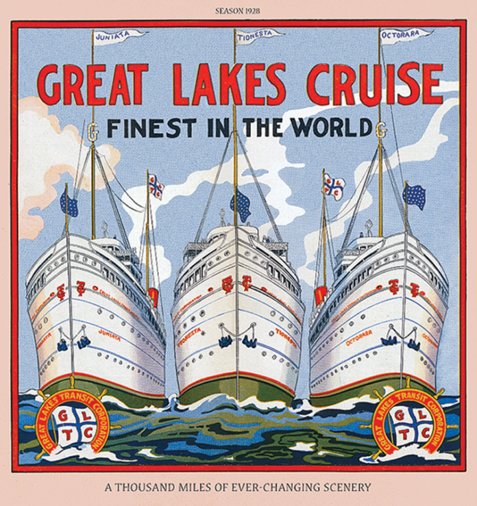 Vintage Poster of the Great Lakes Cruises Fleet of Ships