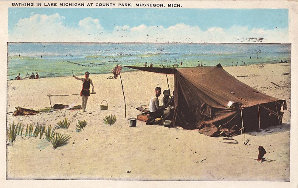 Vintage Postcard of Muskegon Beach Tent