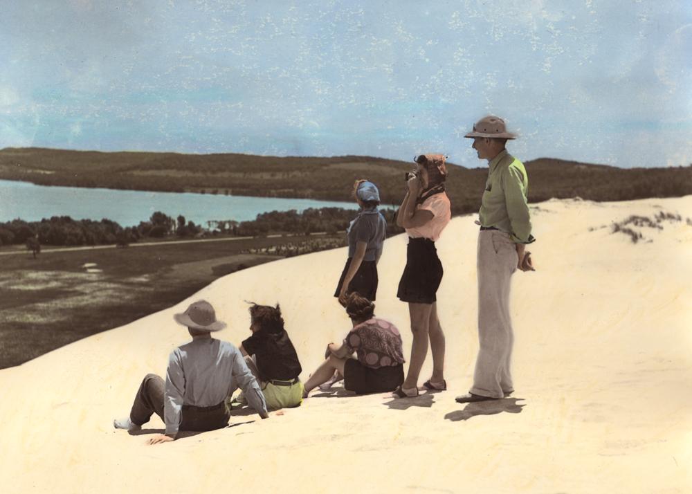 Vintage illustration of Michigan Sand Dunes