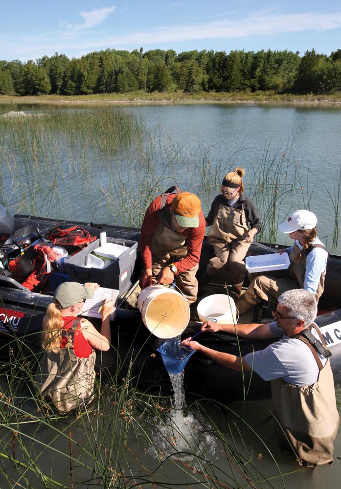 Beaver Island Researchers in Boat