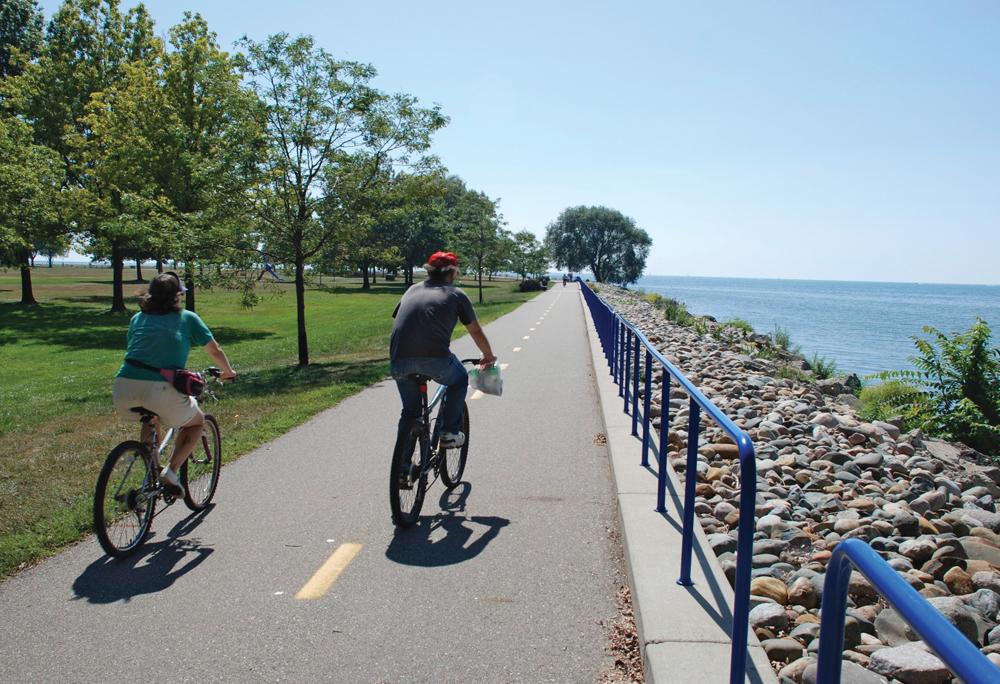 biking along Lake St. Clair