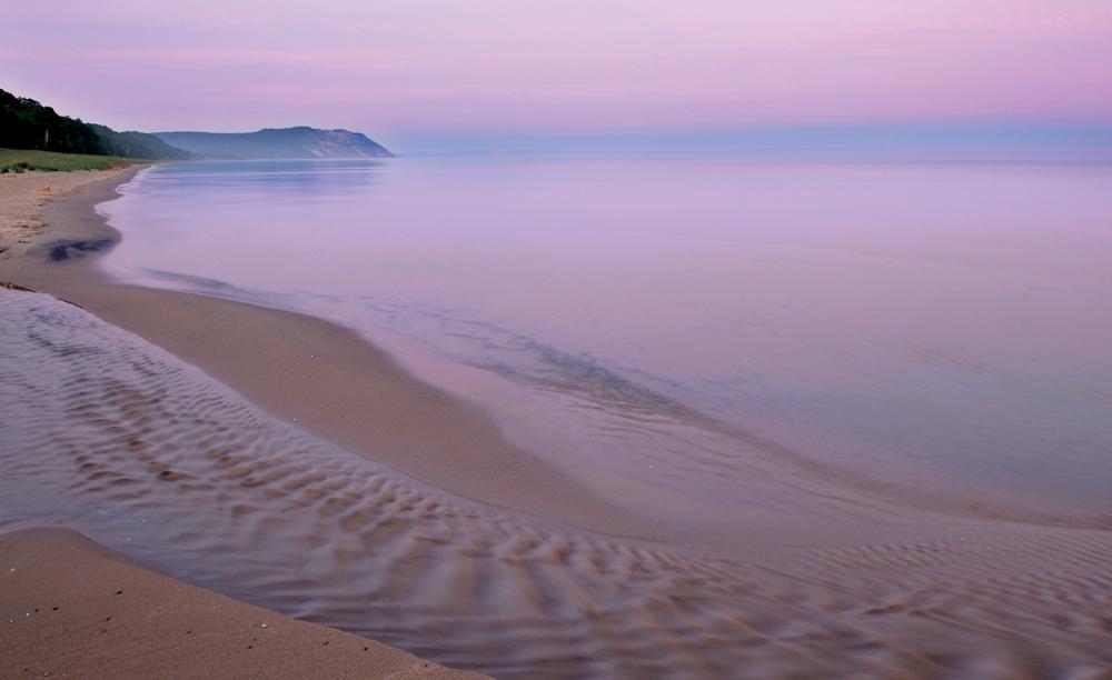 Lake Michigan beach at dusk