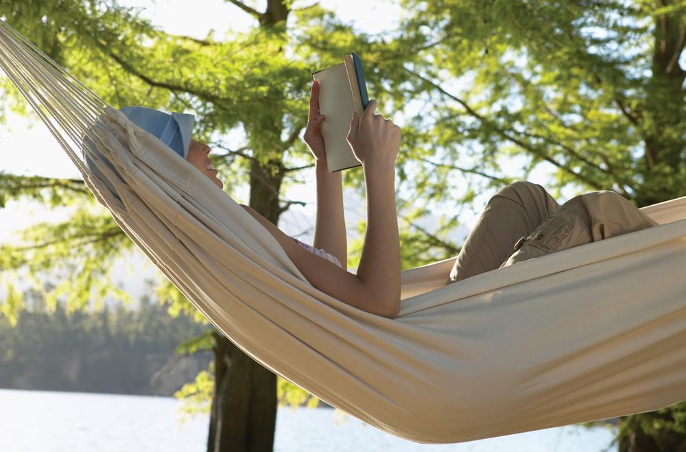 Reader in hammock
