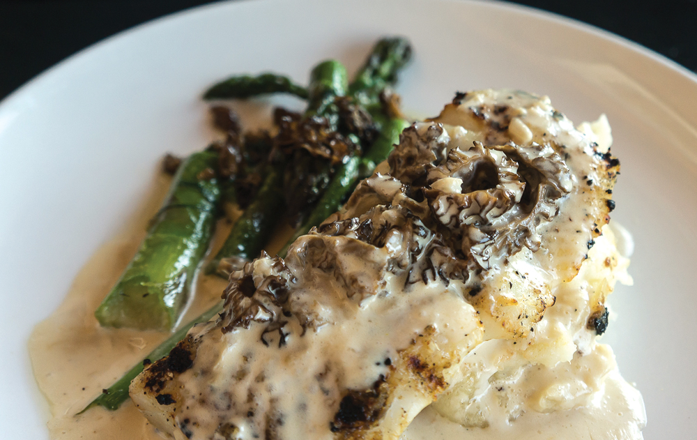 Grilled Sable Fish with Roasted Asparagus & Morels, Whipped Potato, and Morel Cream