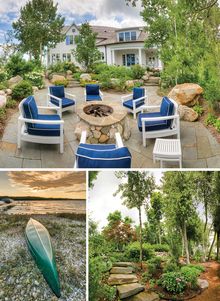 Fire pit, kayak, and garden