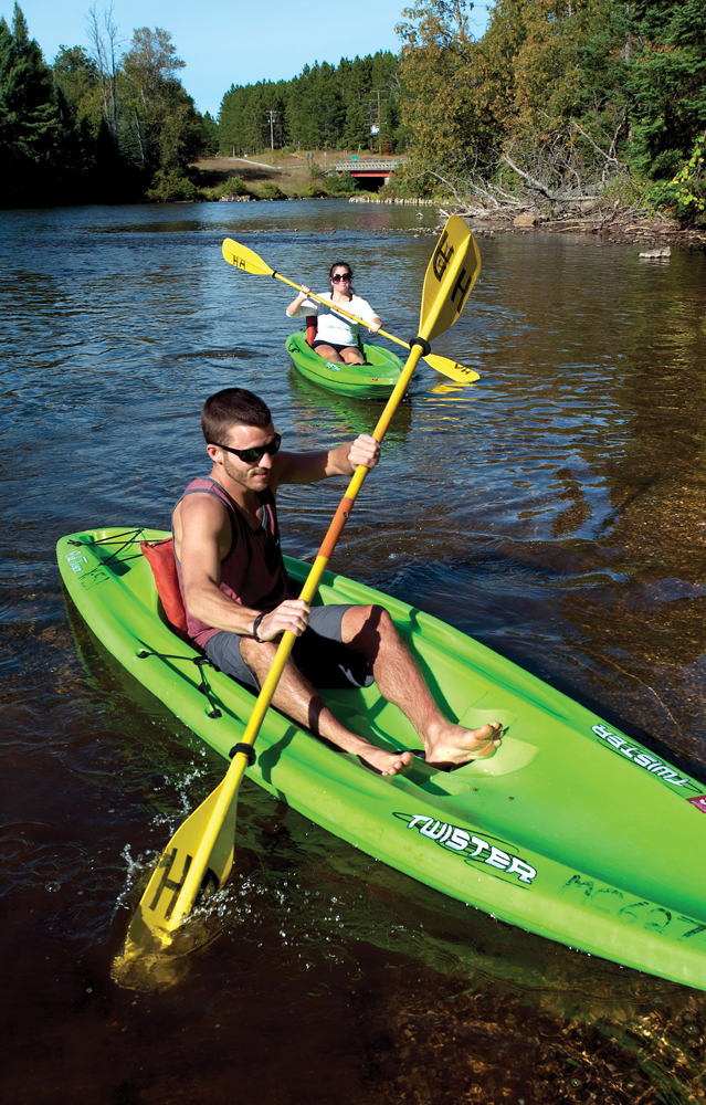 Kayakers conclude a float from Mio Dam