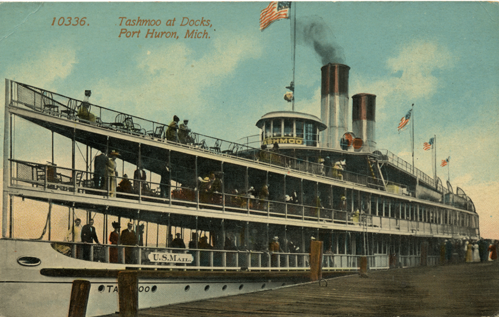 Port Huron Historical Riverboat Postcard