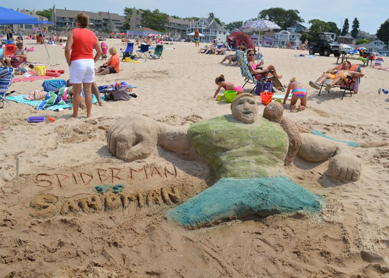 Spiderman vs Sandman Sand Sculpture
