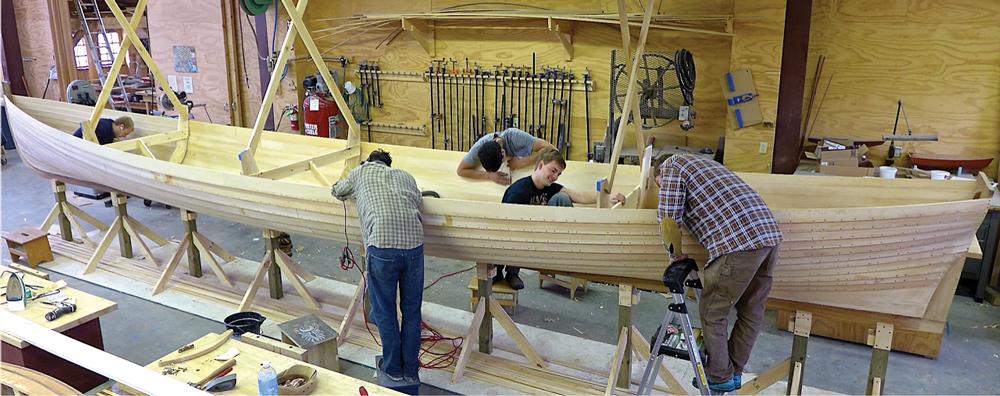 Boat builders working