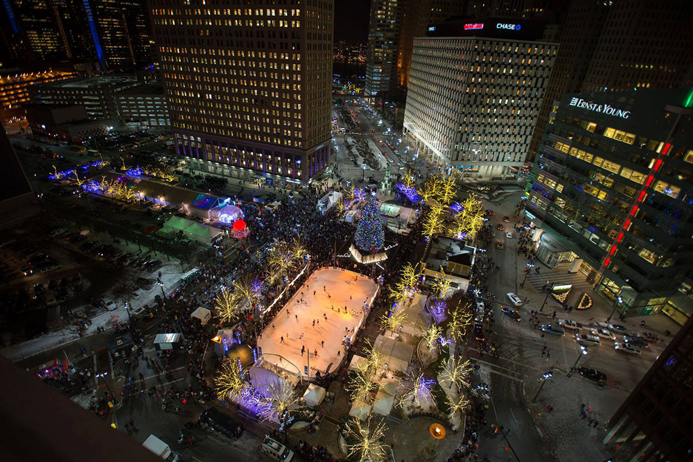 Downtown Detroit During Winter Holidays