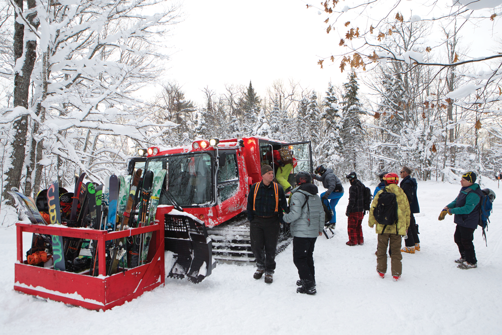 Skiers Gather For Snowcat Ride