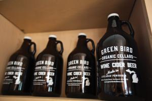 Green Bird Organic Cellars Wine Cider Growlers