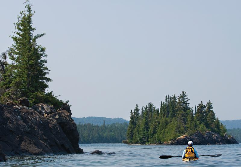A sea kayaker on Lake Superior.