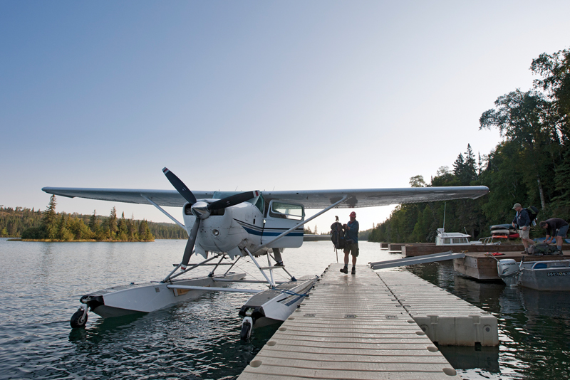 A sea plane docks at Tobin Harbor at Isle Royale National Park