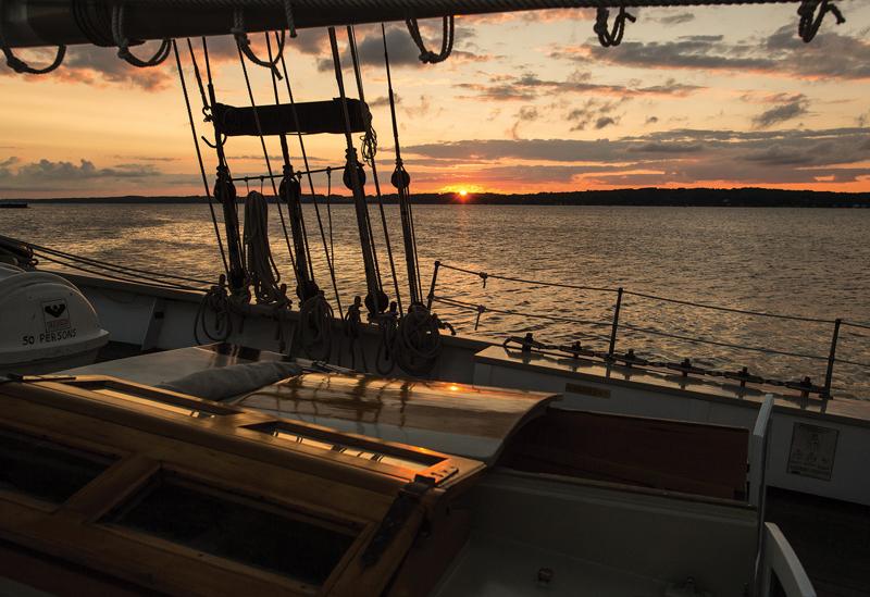 Sunset aboard a tall ship