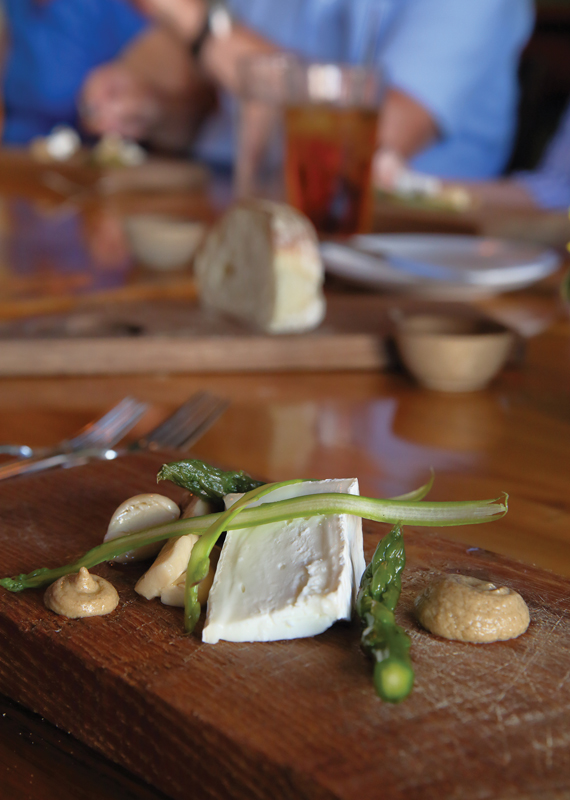 Evergreen Lane Artisan Cheese called Lily Rose is served with a mushroom conserva.