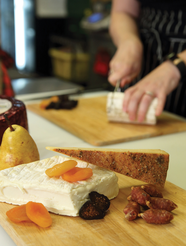 A sampling of cheeses, dried fruits and meats