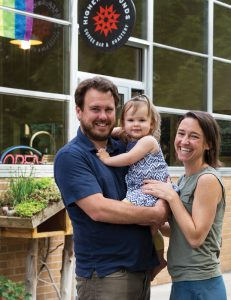 Owner/Founder ChrisTreter with wife Shauna & daughter Pearl outside the cafe.