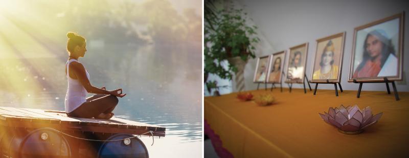 Yoga pose on deck, framed pictures