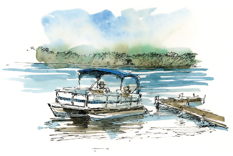 Glen Lake illustration - boat