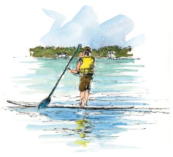 Glen Lake illustration - paddling