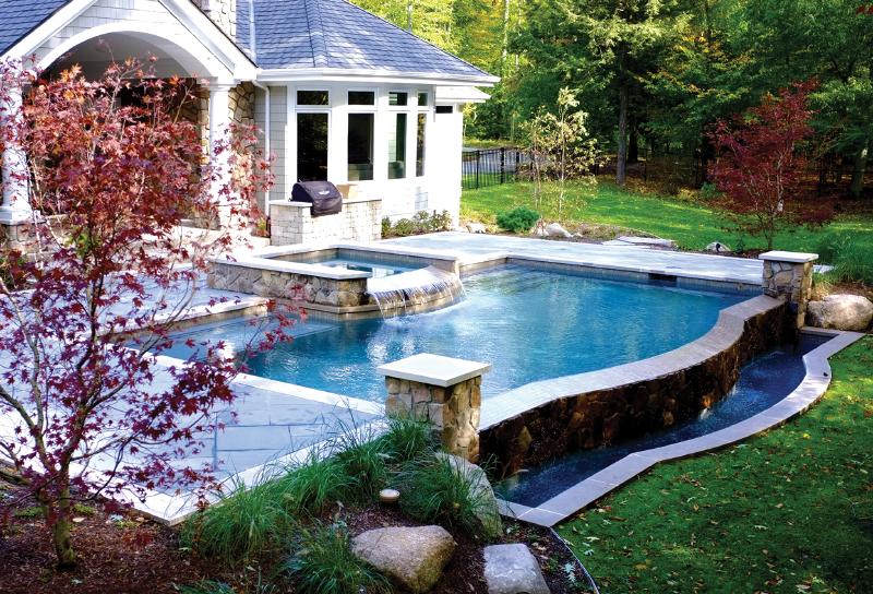 Pools with sun shelf