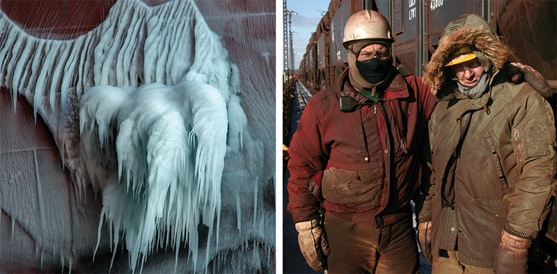 Callaway's ice-coated anchor and dockworkers