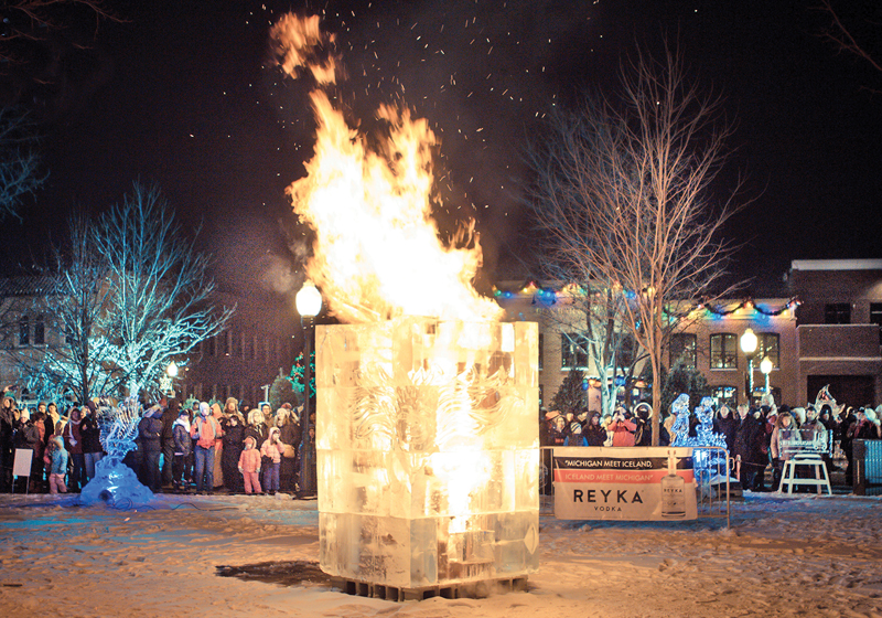 Plymouth Ice Festival - fire sculpture