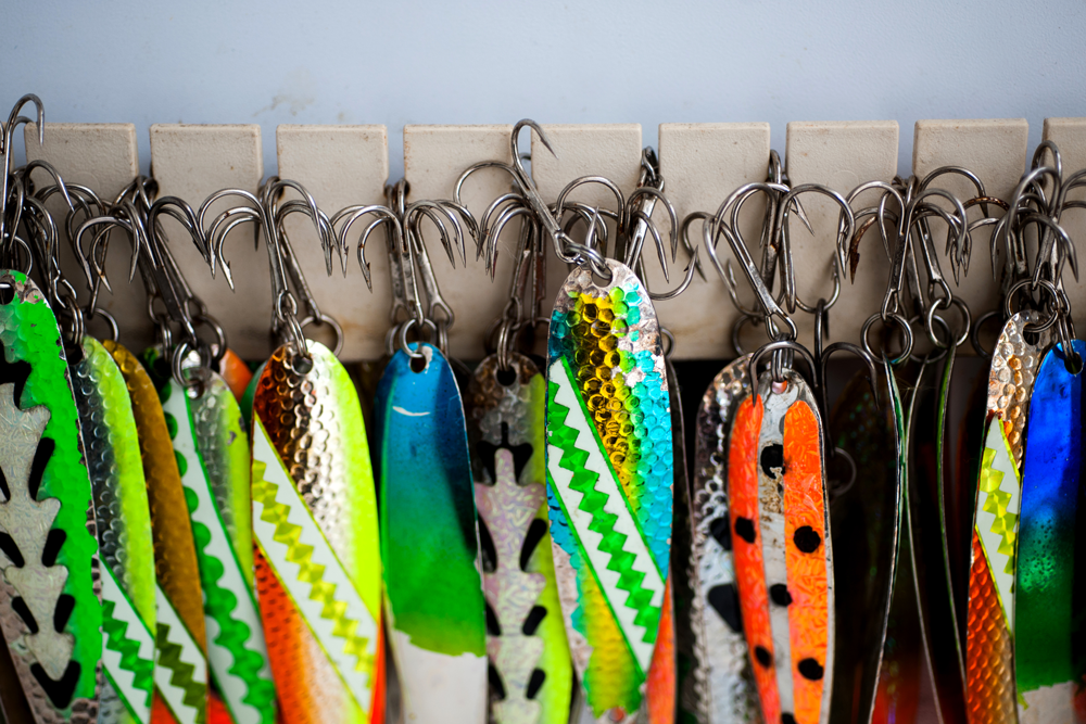 Grinold trolls colorful lures to catch salmon, lake trout and steelhead.