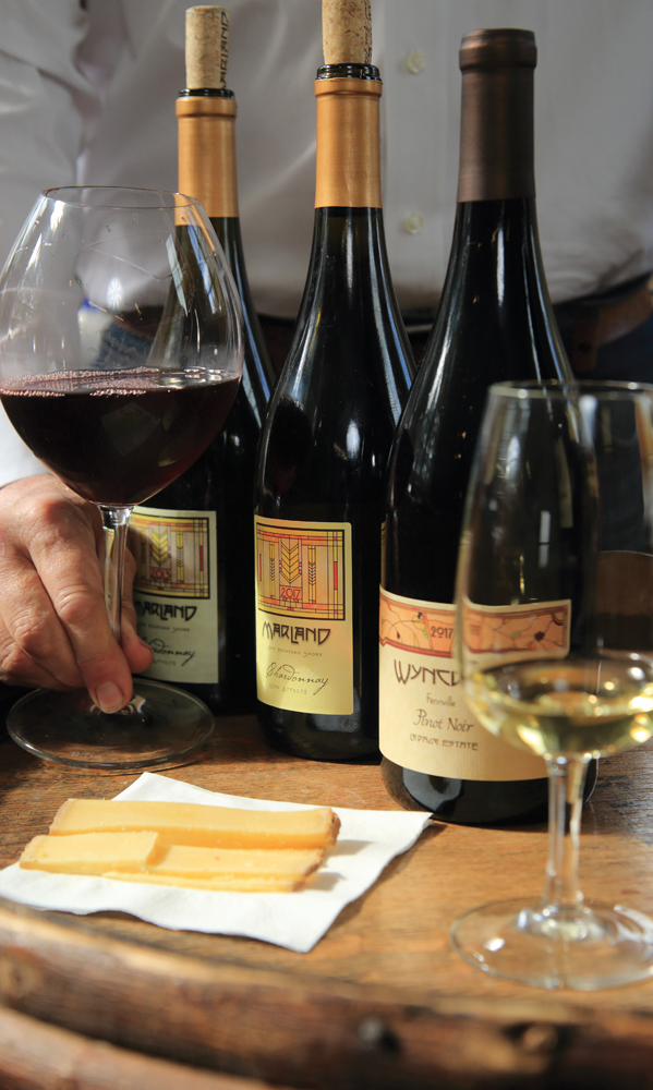 Wine samples at Wyncroft Vinyards