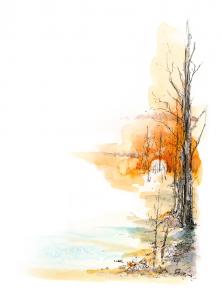 Winter Illustration by Gary W. Odmark - Michigan Blue Magazine