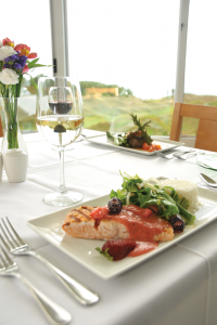 Grilled Jail Island Salmon with Fresh Berry Mustard, Arugula & Apple Salad