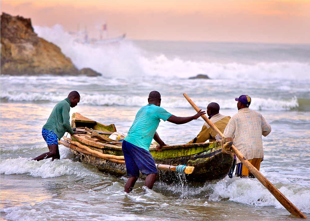 Four Guys Casting Off in Ghana