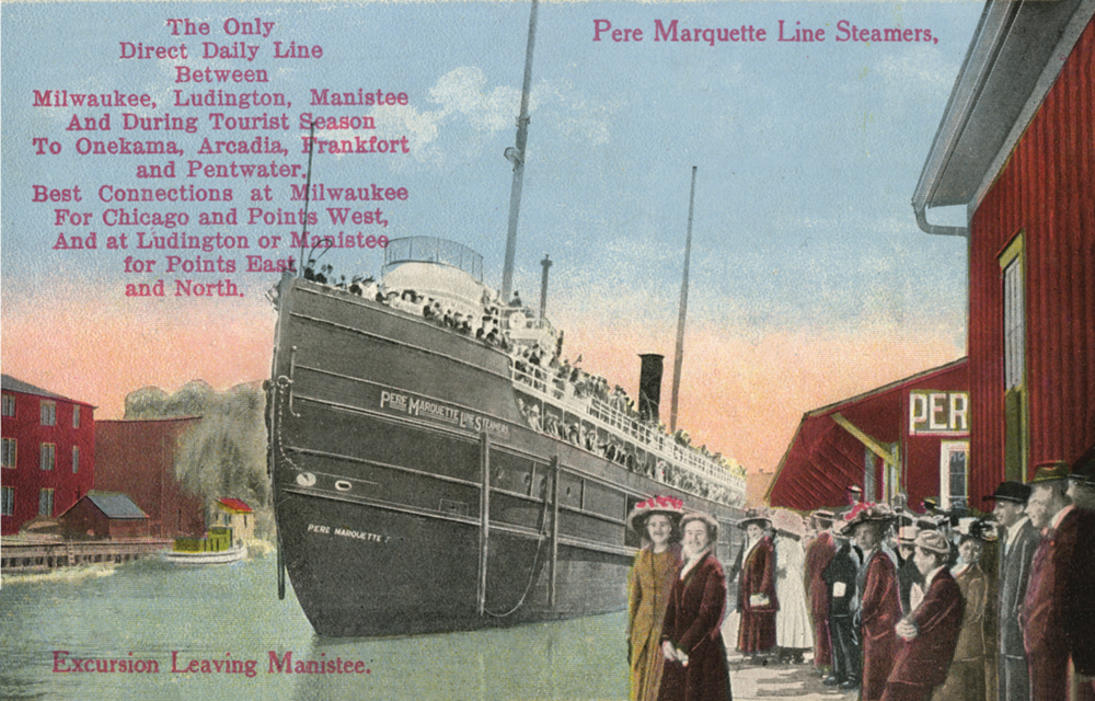 Excursion Leaving Manistee Historical Postcard