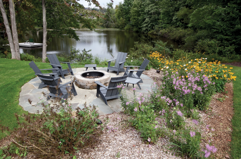 Adirondack chairs on lower lawn