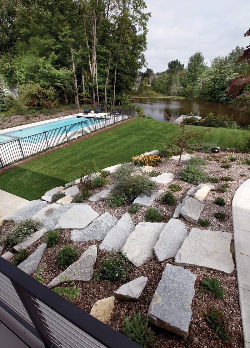 Stone steps to pool