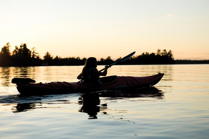 Kayak in sunset