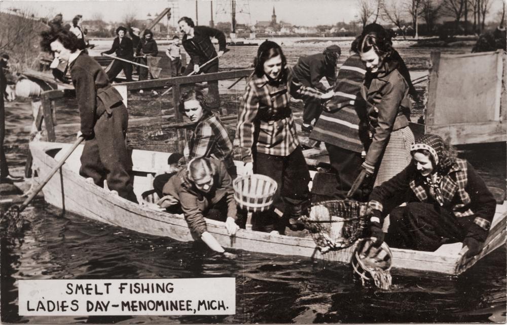Menominee Historical Postcard Fishing