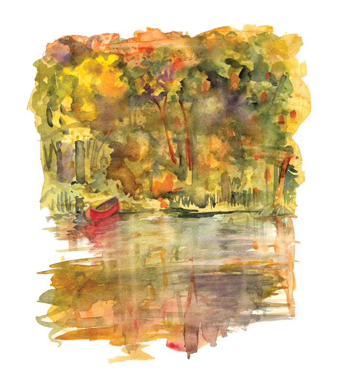 Michigan Blue Fall Refections Red Canoe Illustration