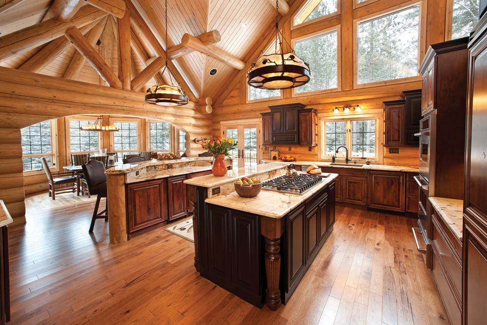 Log Cabin Kitchen Rendering