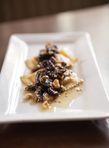 Butternut Squash Ravioli with Sage, Brown Butter, Dried Cherries and Hazelnuts