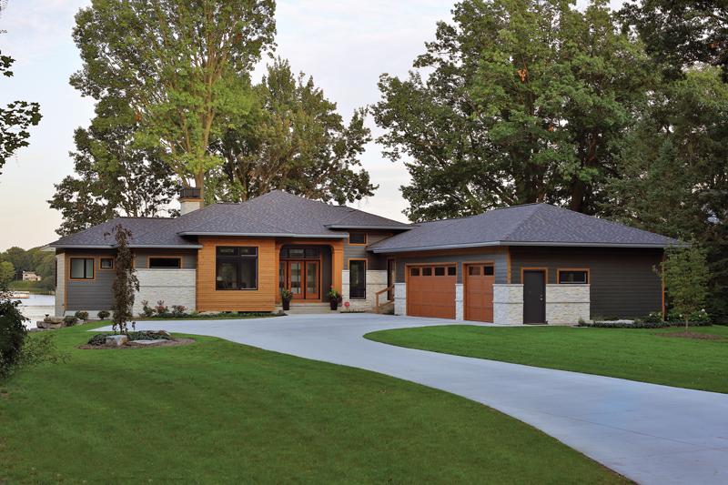Great Lake Story 2016 Michigan BLUE Homes Angled Garage