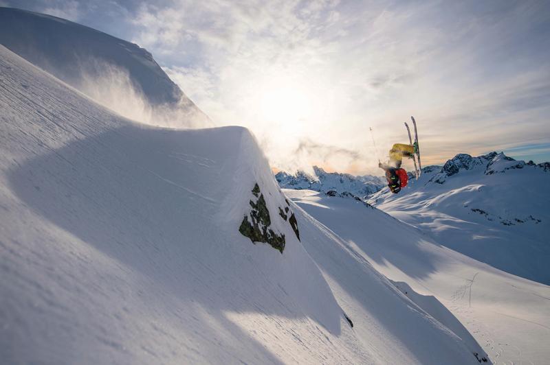 warren miller photo of skier flipping