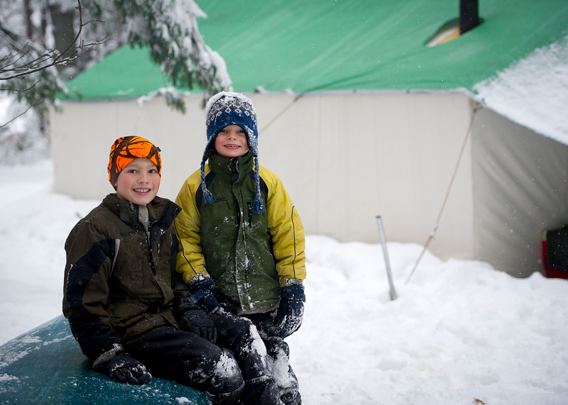 children enjoying winter camping