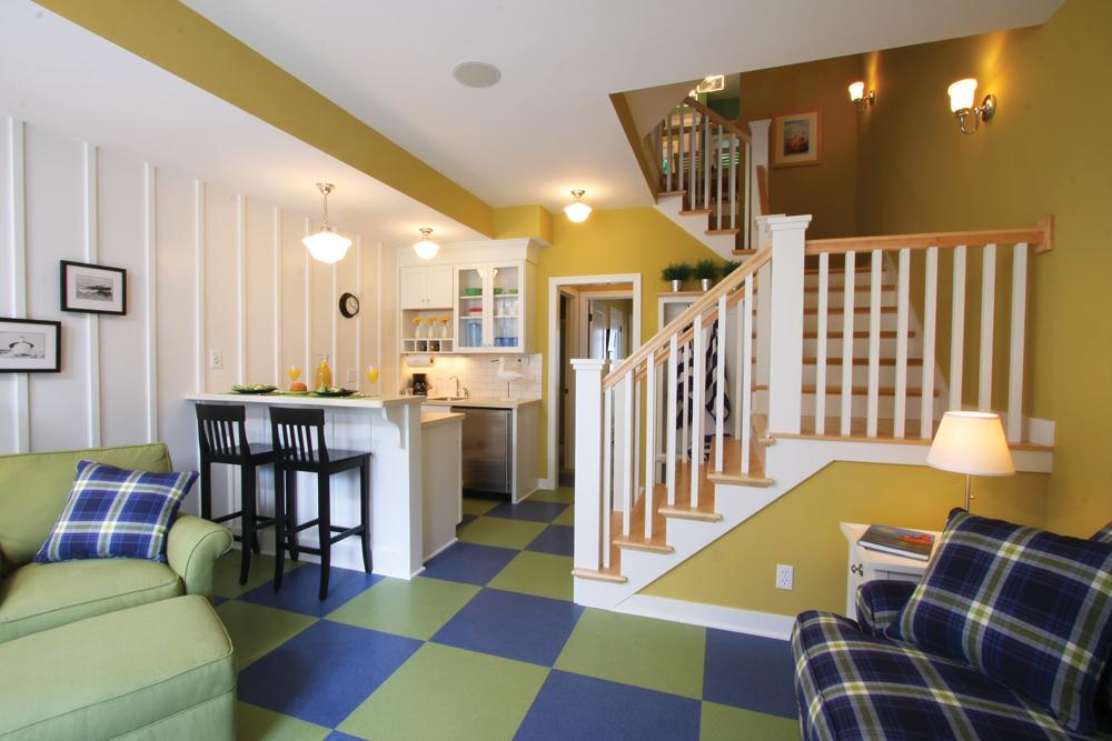 green blue tile floor