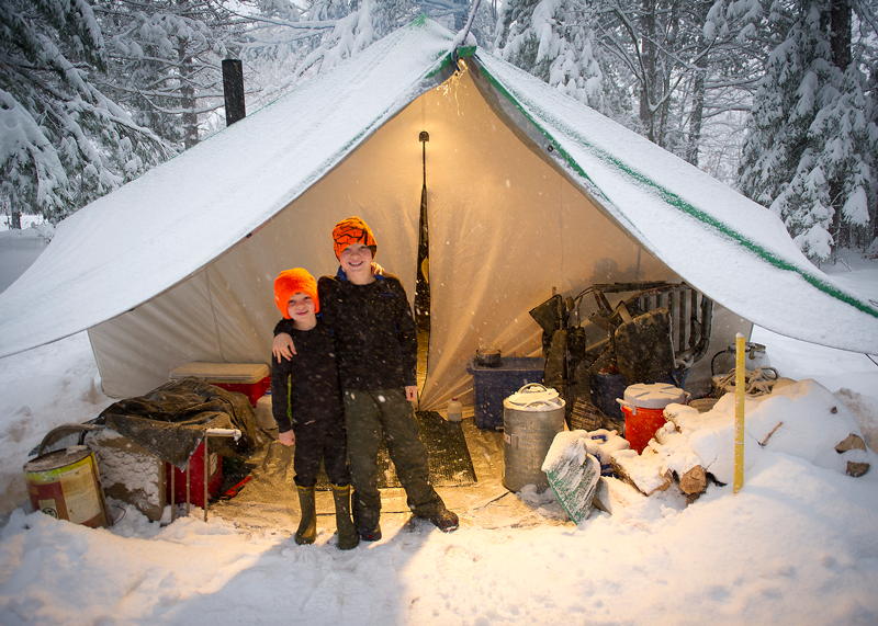 kids in a winter tent