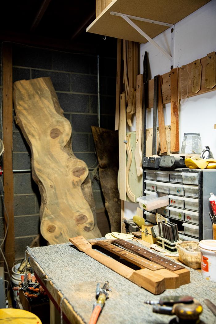 Gabriel Currie's prototype Hackley log guitar