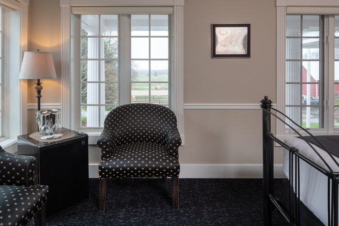 Stylish rooms look out on the grounds