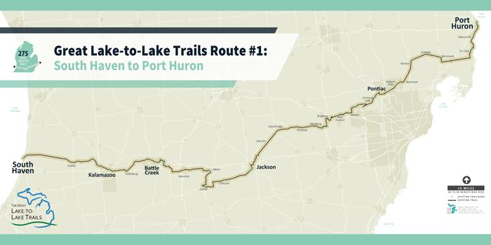 Overview map of Michigan biking trail