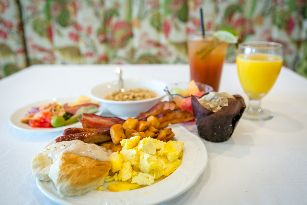 Breakfast anyone? It is served in the 1852 Grill Room, or on a terraced patio.